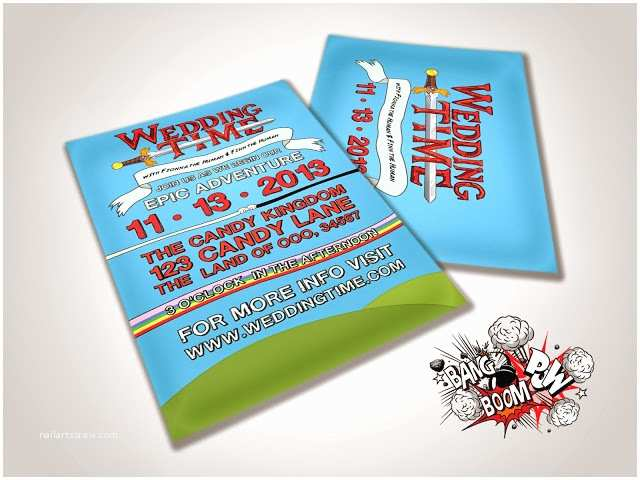Wedding Invitation Adventure Bang Boom Pow What Time is It Wedding Time Adventure