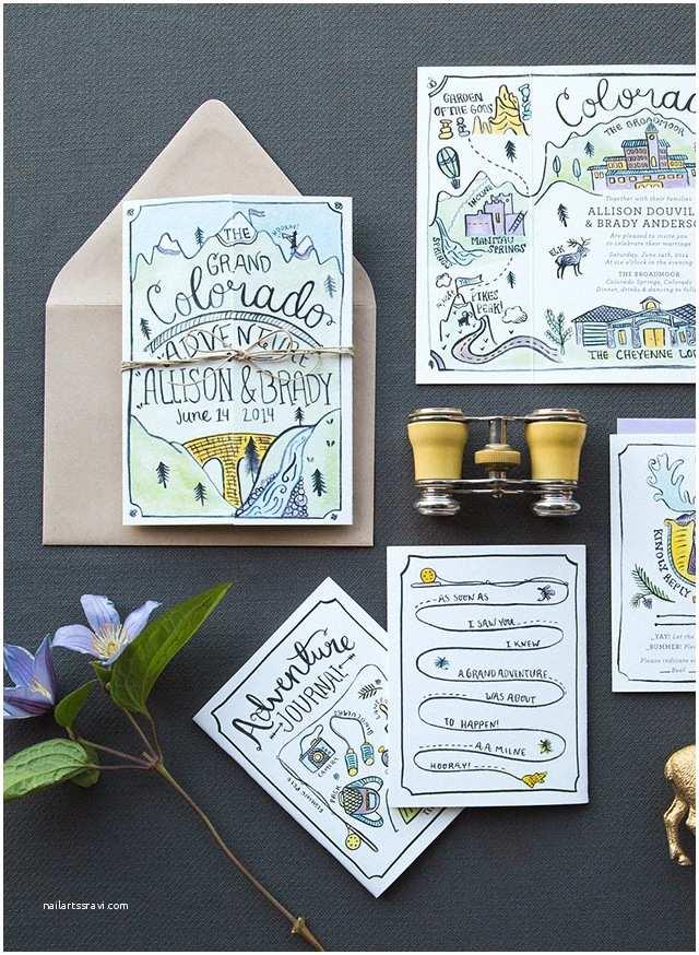 Wedding Invitation Adventure Illustrated Adventure Driven Wedding Invitations