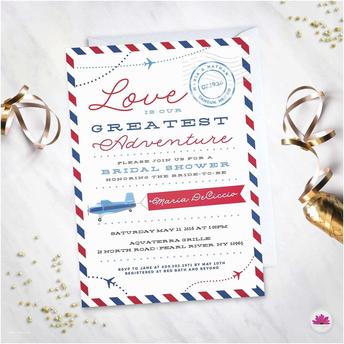 Wedding Invitation Adventure Love is Our Greatest Adventure– Bridal Shower Invitation