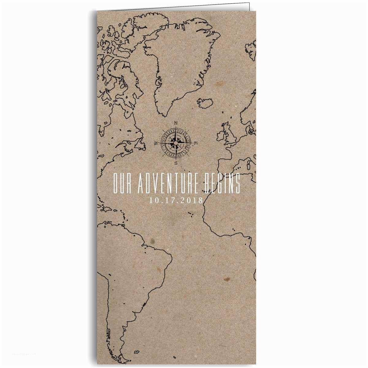 the adventure begins folded map wedding invitations