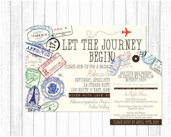 Wedding Invitation Adventure Travel Invitation Travel Bridal Shower Invitation Adventure