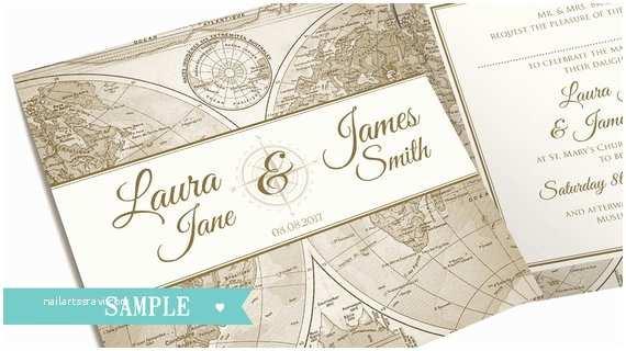 Wedding Invitation Adventure Vintage Map Wedding Invitation Travel Adventure by