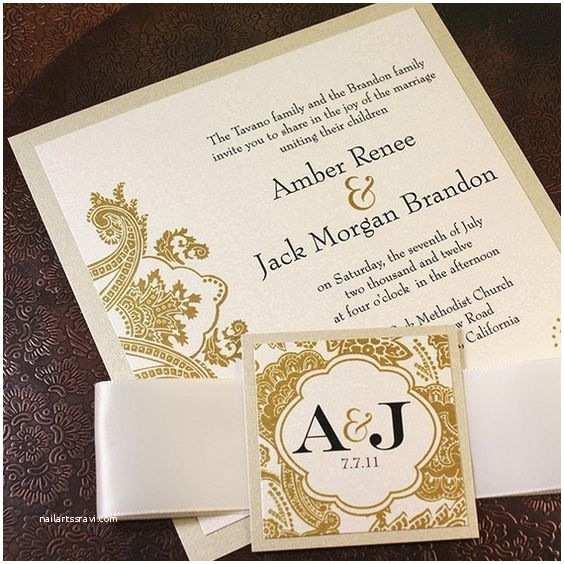 Wedding Invitation Bands Champagne Gold Bellevue Wedding Invitation Suite Ribbon