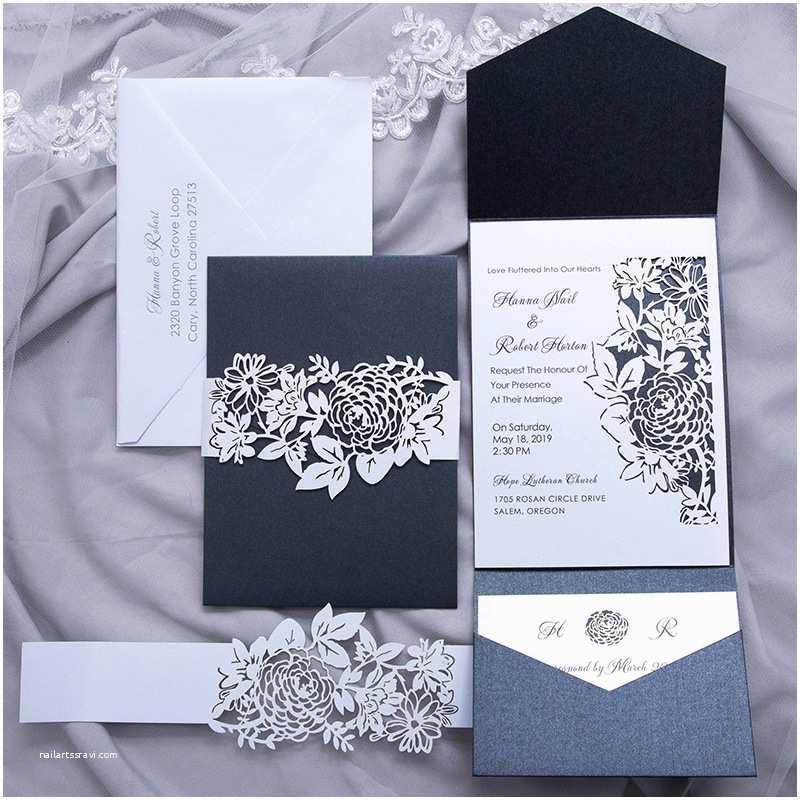 Wedding Invitation Belly Band Black Shimmer Pocket Wedding Invitations with Floral Laser