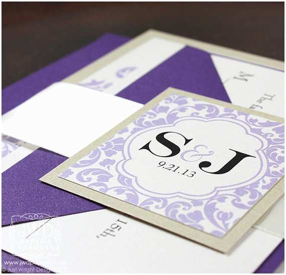 Wedding Invitation Belly Band Champagne Lavender Periwinkle Purple Wedding Invitation