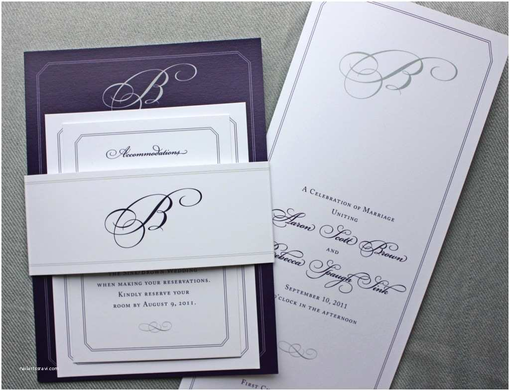 Wedding Invitation Belly Band Eggplant Gray and White Monogrammed Belly Band Wedding