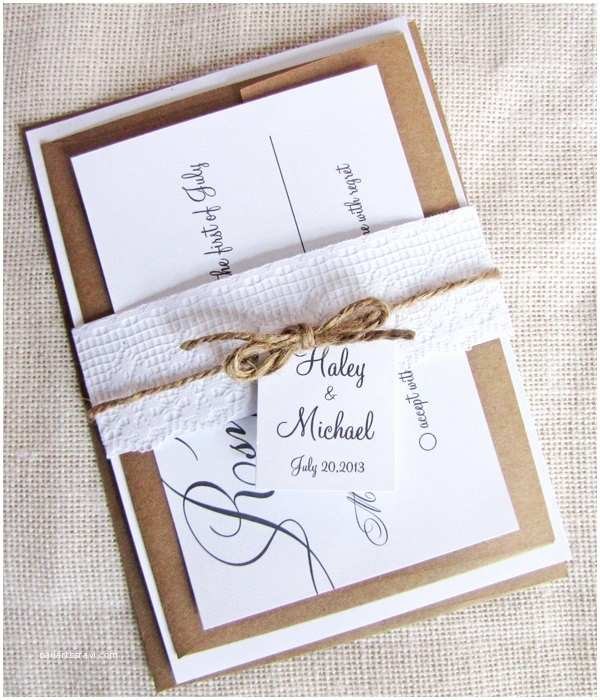 Wedding Invitation Belly Band Modern Calligraphy Lace and Twine Belly Band Wedding
