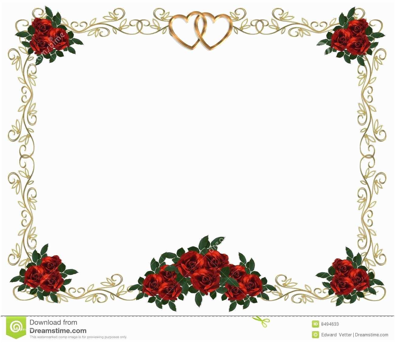 Wedding Invitation Borders Red Roses Border Wedding Invitation Stock S Image