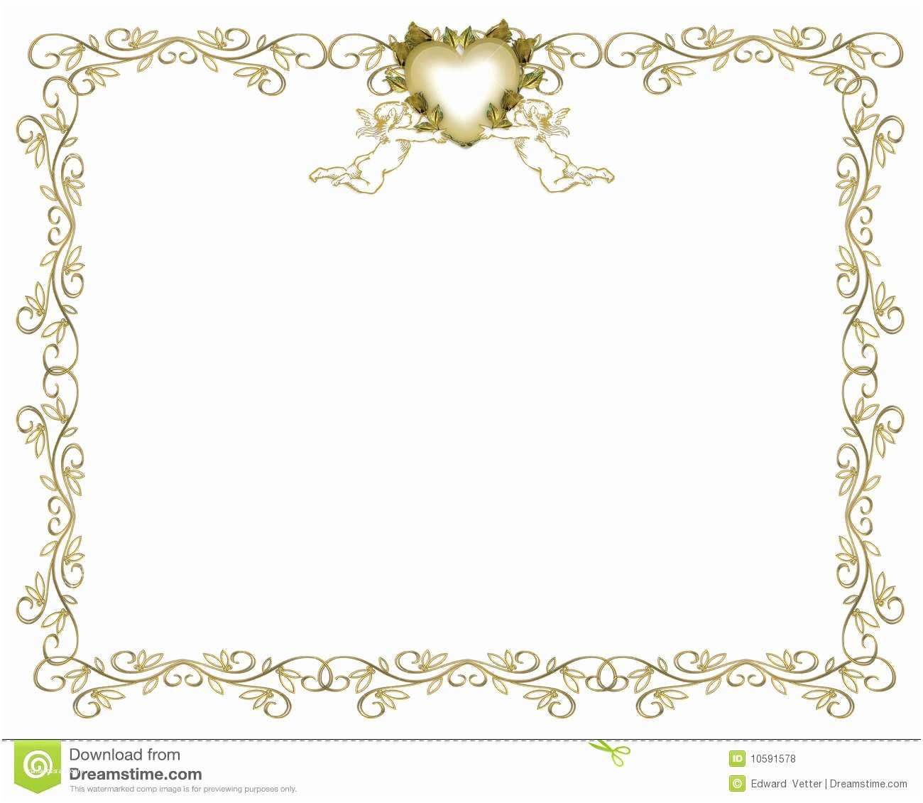 Wedding Invitation Borders Wedding Invitation Gold Border Angels Royalty Free Stock