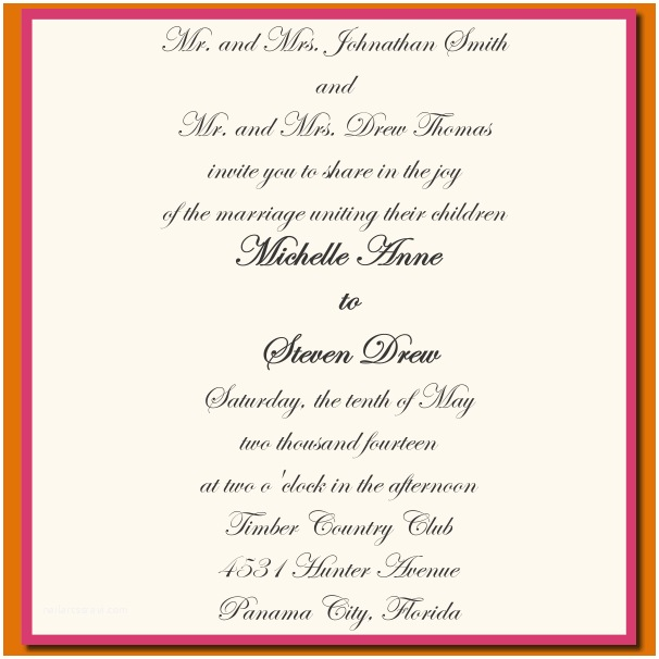 Wedding Invitation Both Parents Wording Samples 10 Wedding Invitation Sample Wording