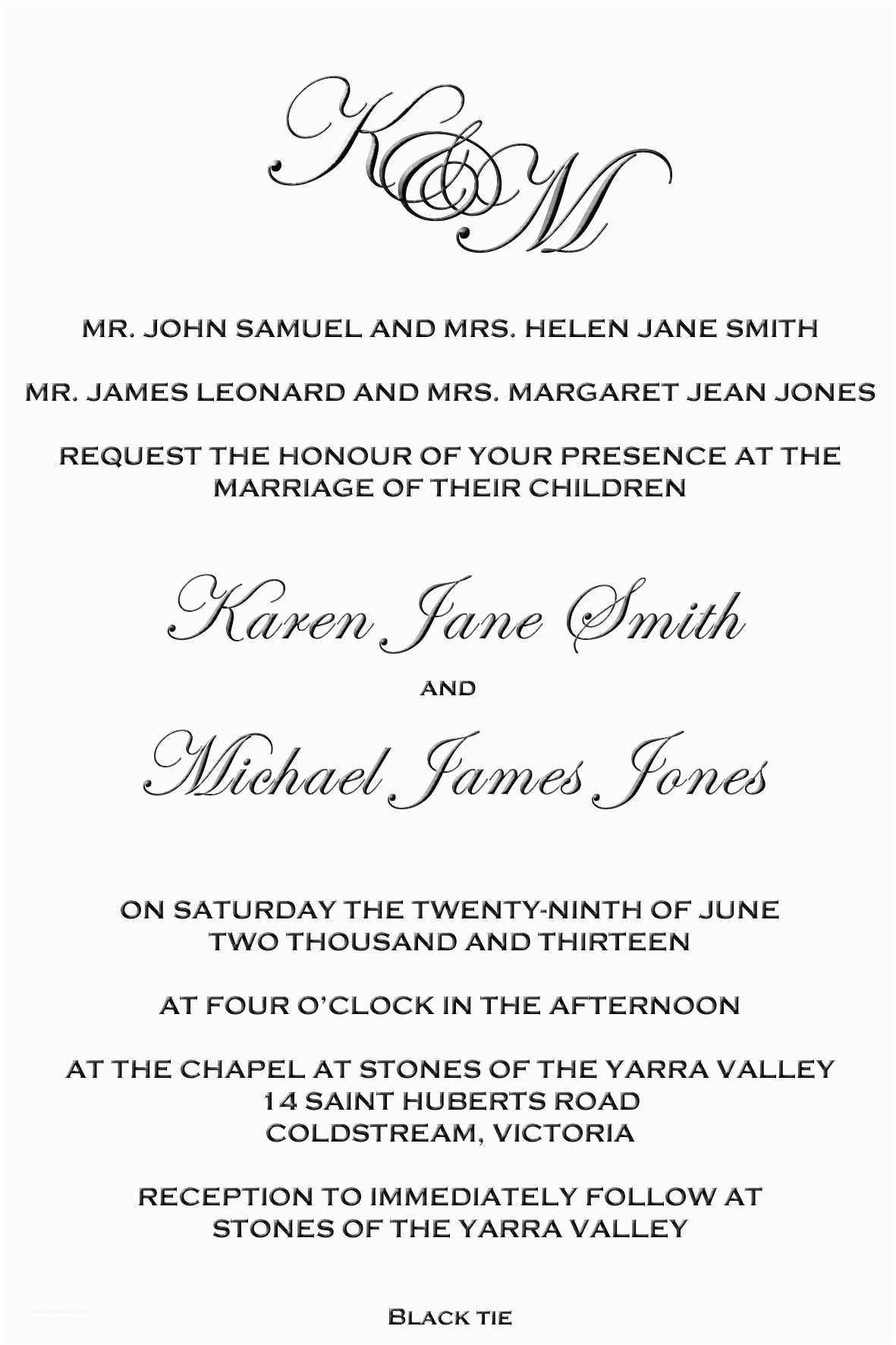 Wedding Invitation Both Parents Wording Samples Wedding Invitation Wording Both Parents Informal