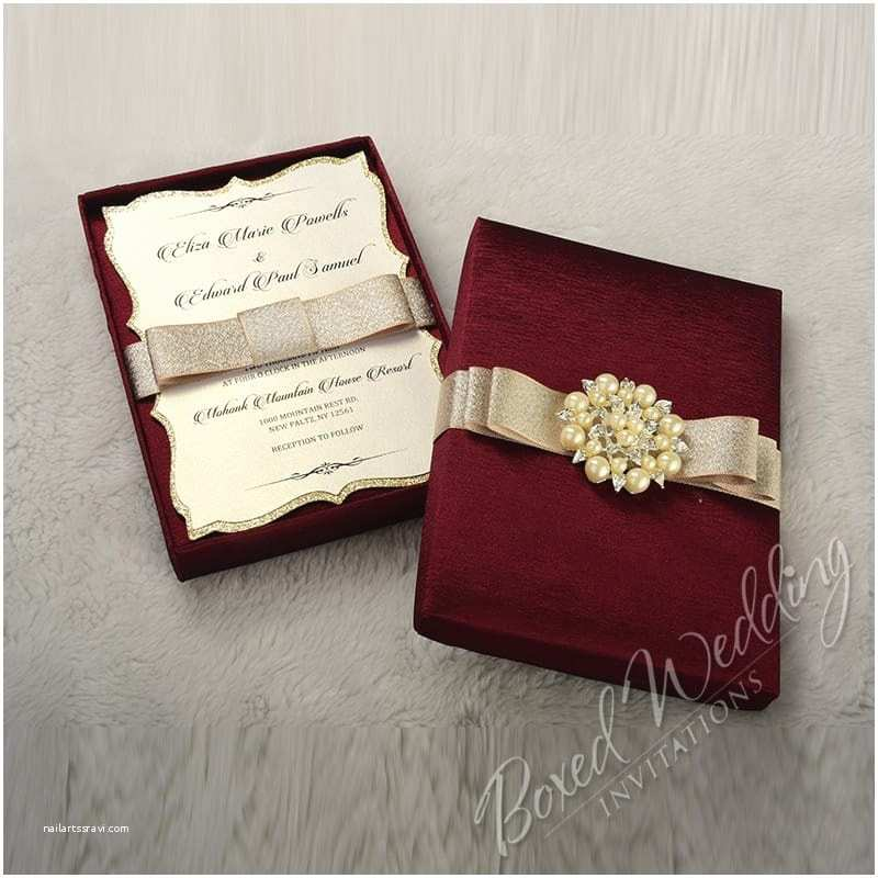Wedding Invitation Boxes Couture Wedding Invitation Box with Pearl Brooch
