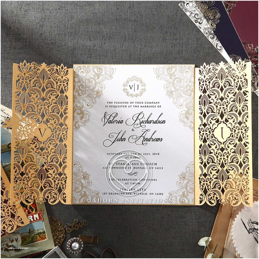 Wedding Invitation Brands Gold Foil and Ivory Gatefold Wedding Invitation Laser Cut