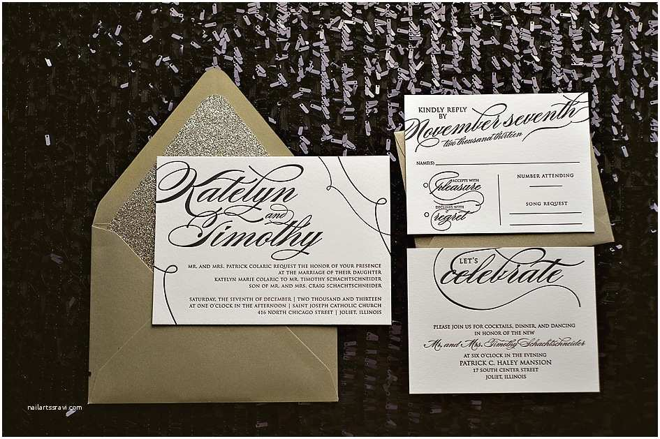 collectionbdwn black and gold wedding invitations