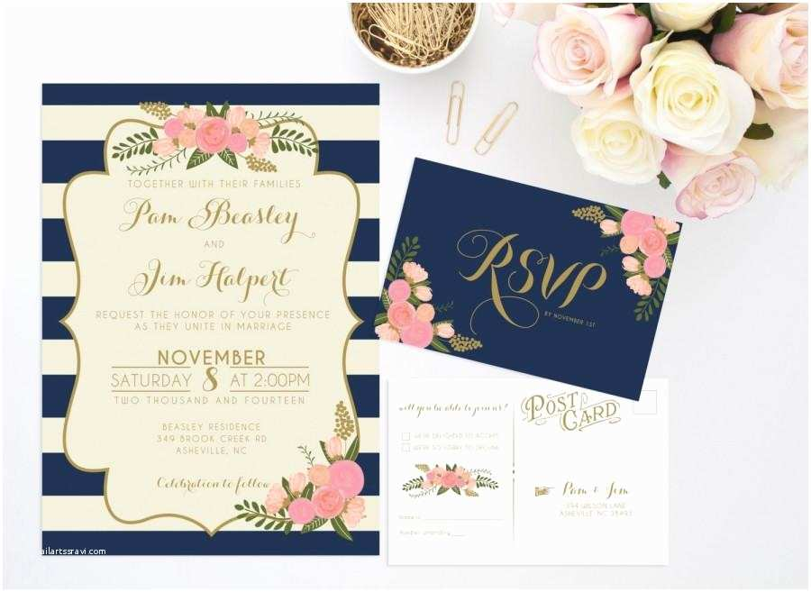 Wedding Invitation Bundles Printable Wedding Invitation Bundle Stripe Floral