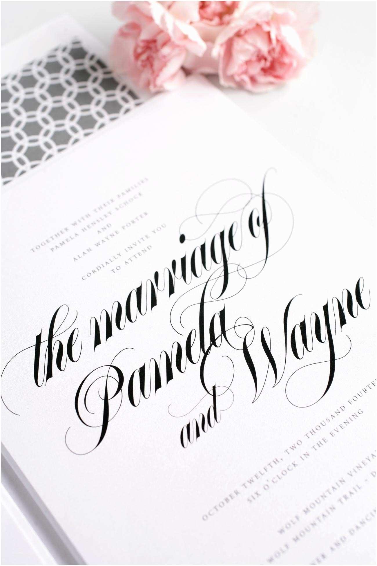 Invitation Calligraphy Bold Calligraphy  Invitations In Gray –