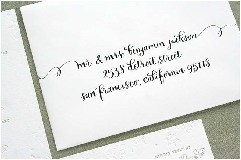 Wedding Invitation Calligraphy Charlotte Erik S Winter Snowflake Wedding