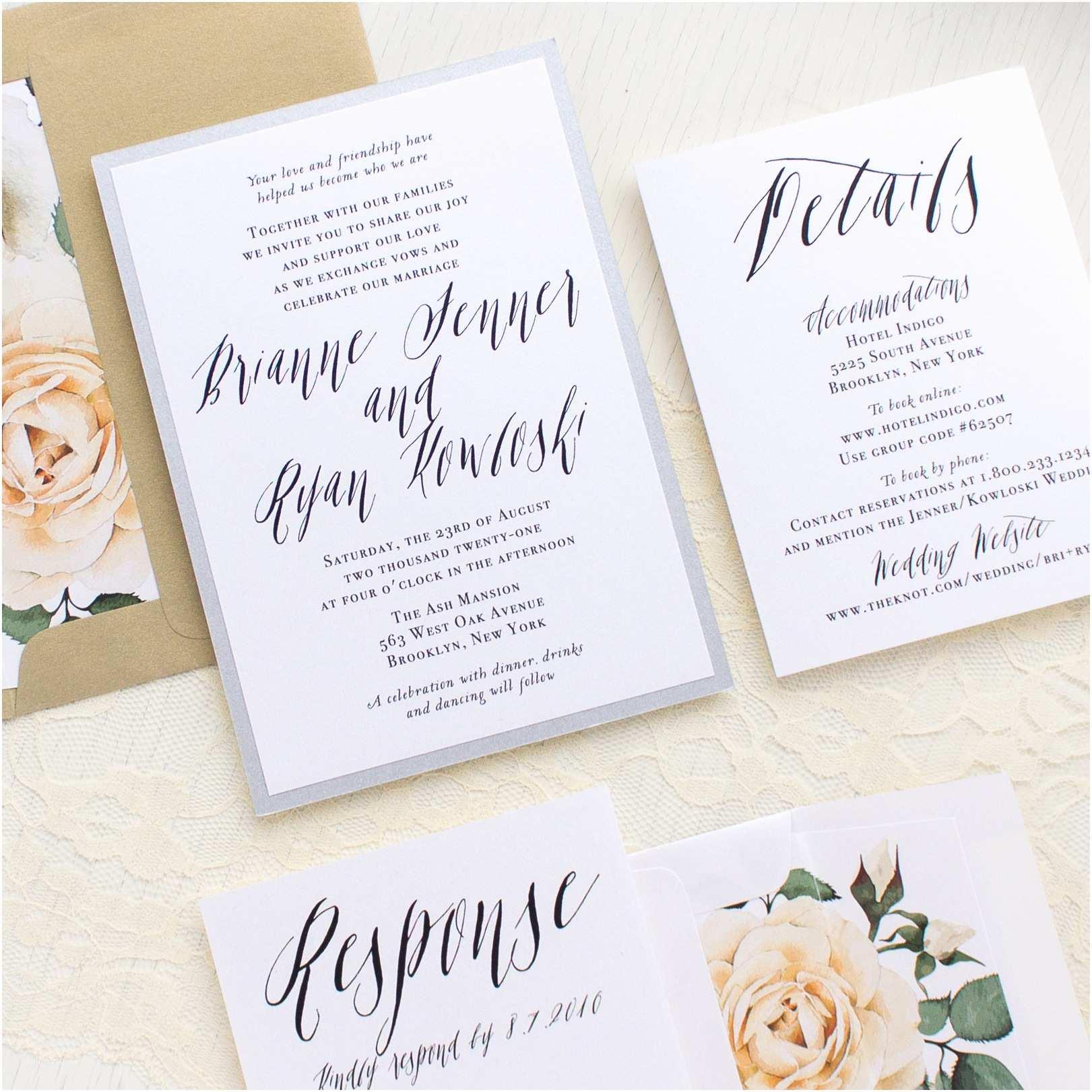 Wedding Invitation Calligraphy Modern Calligraphy Customizable Wedding Invitations