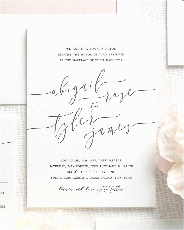 Wedding Invitation Calligraphy Romantic Calligraphy Letterpress Wedding Invitations