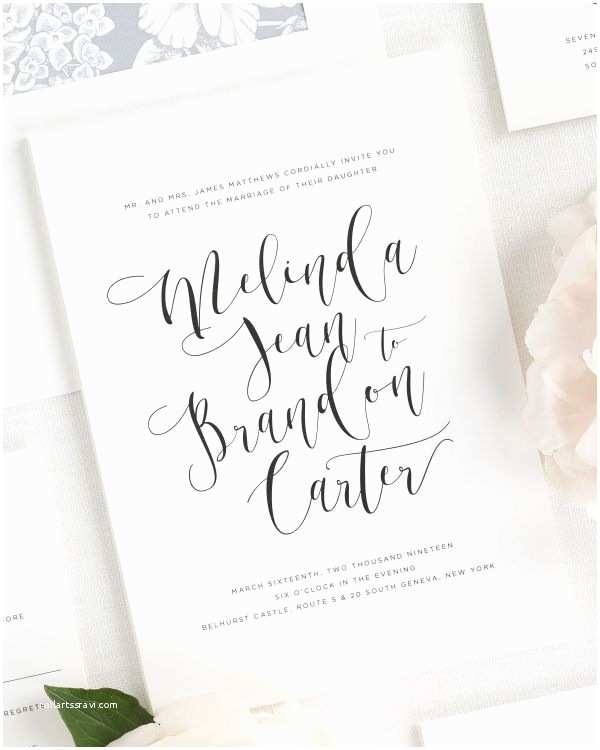 Invitation Calligraphy Romantic Calligraphy  Invitations