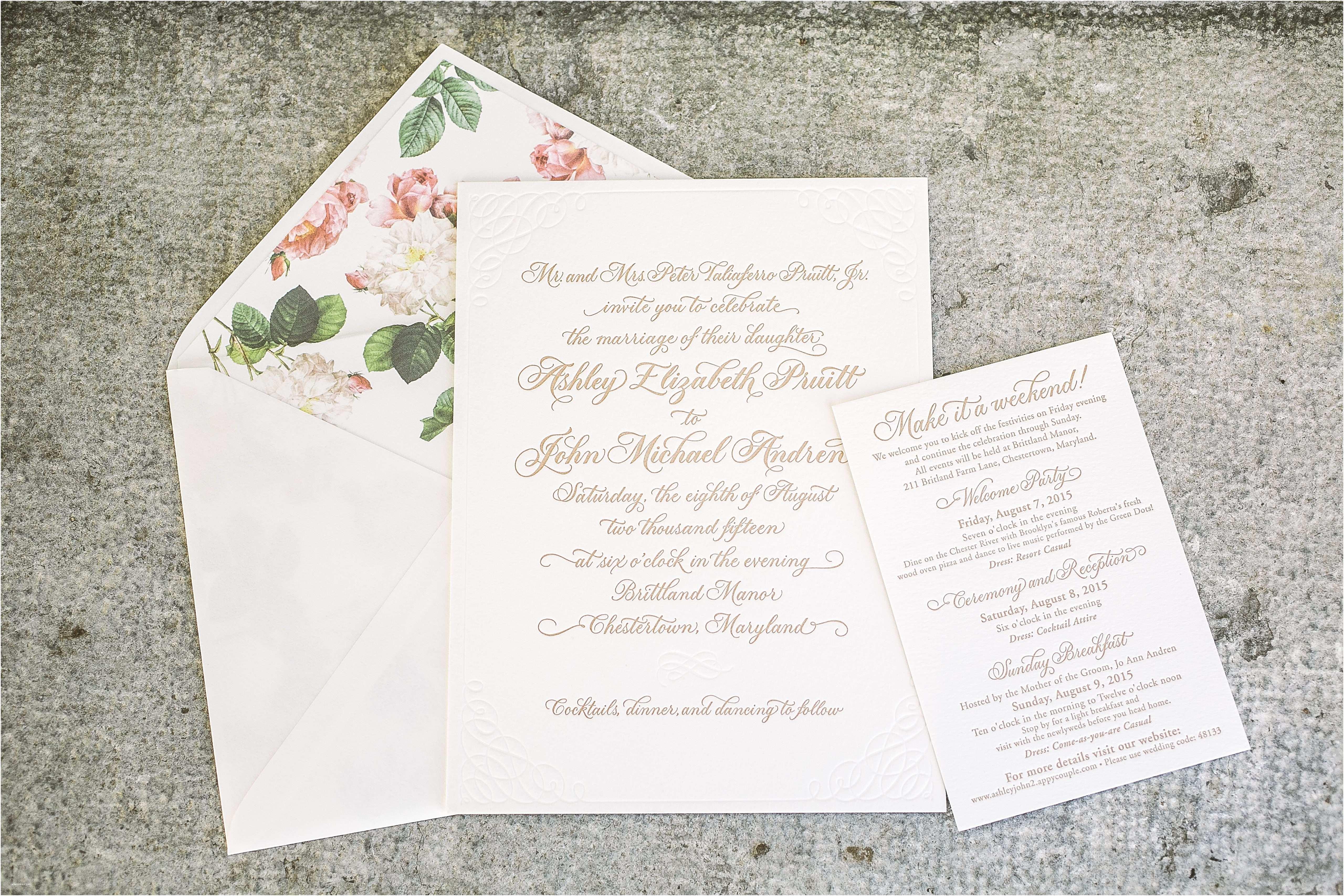 Wedding Invitation Calligraphy Romantic Letterpress Calligraphy Wedding Invitations