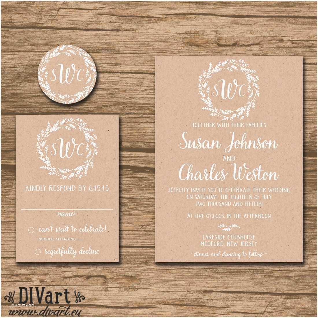 Wedding Invitation Card Paper Rustic Wedding Invitation Suite Response Card Monogram