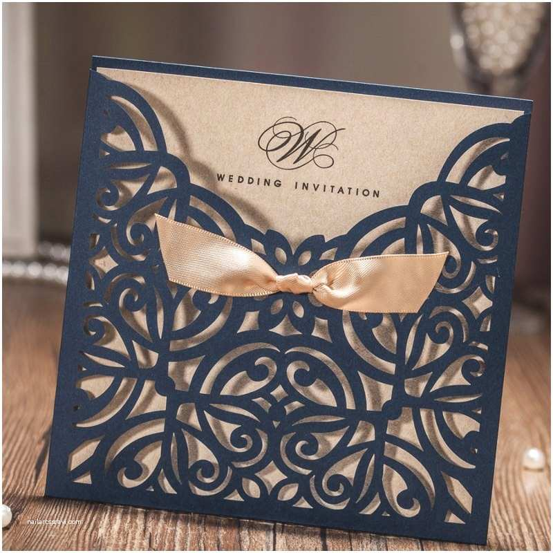 Wedding Invitation Cardstock and Envelopes Aliexpress Buy Navy Blue Personalized Printing