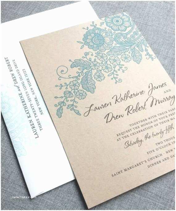 Wedding Invitation Cardstock and Envelopes Lauren Kraft Lace Wedding Invitation Sample Recycled Rustic