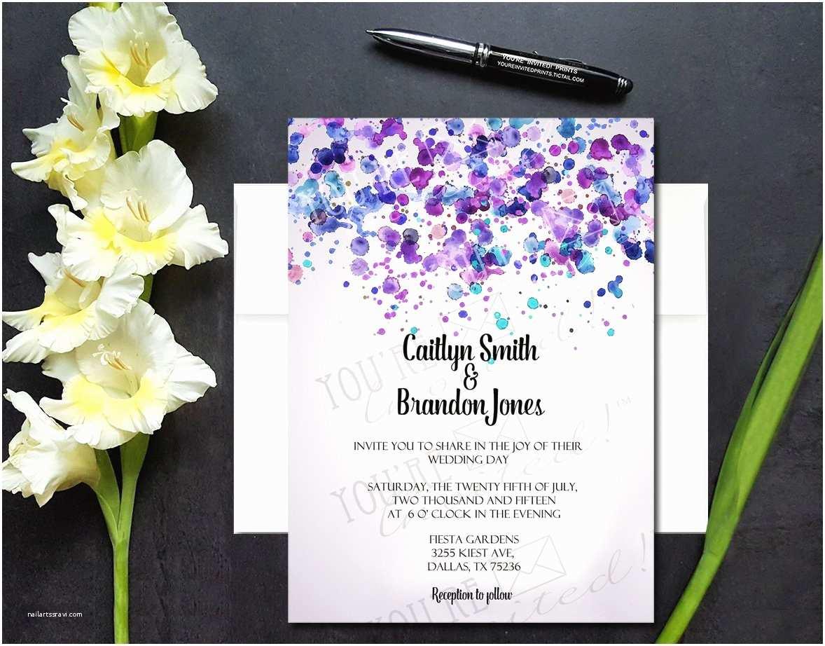 Wedding Invitation Cardstock and Envelopes Modern Dot Watercolor Wedding Invitation • You Re Invited