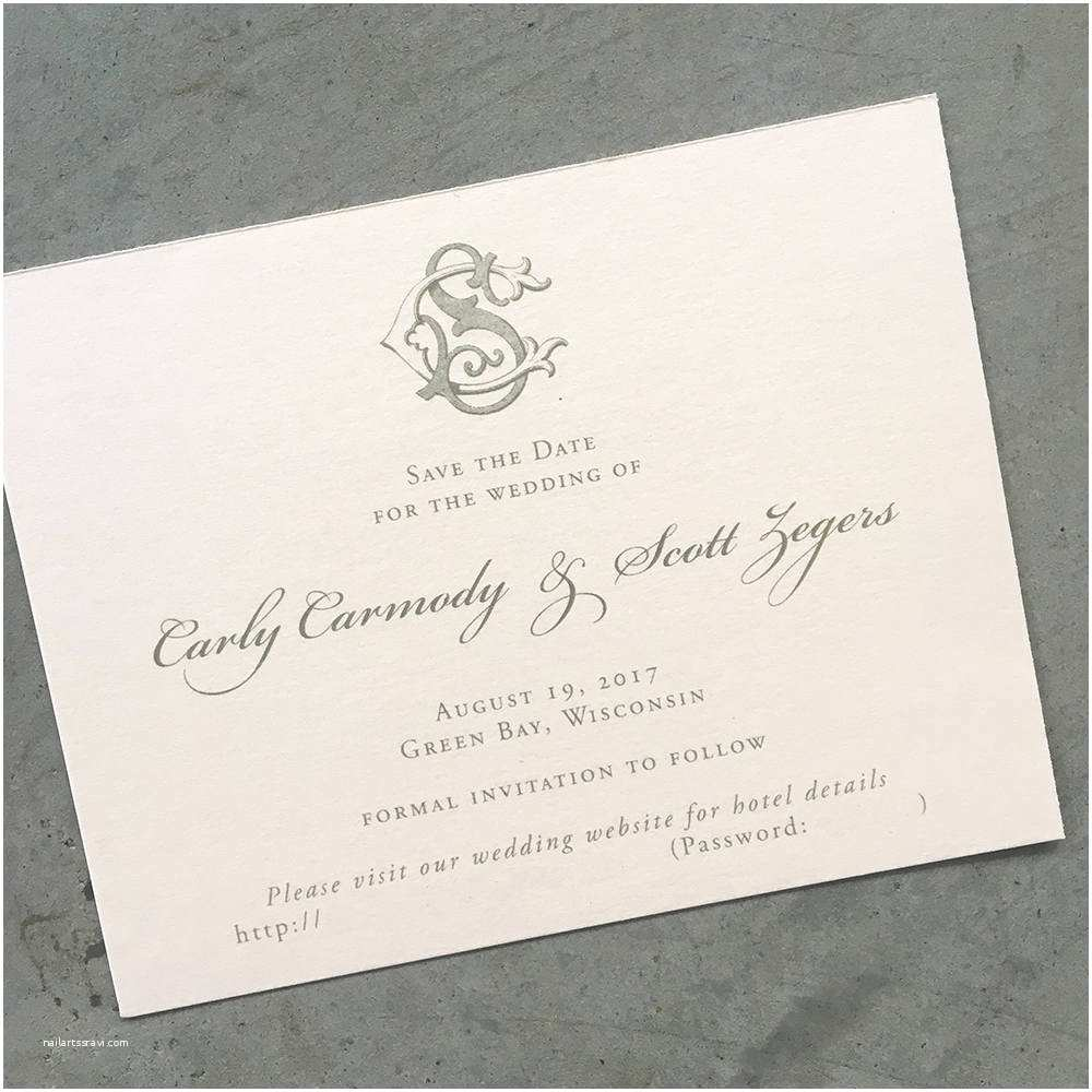 Wedding Invitation Cardstock and Envelopes Victorian Monogram Save the Date Cards with Envelopes