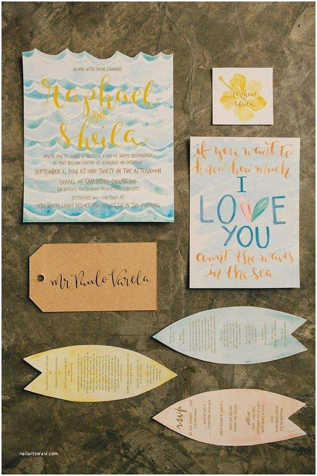 Wedding Invitation Cebu First Of April Watercolor and Calligraphy Wedding