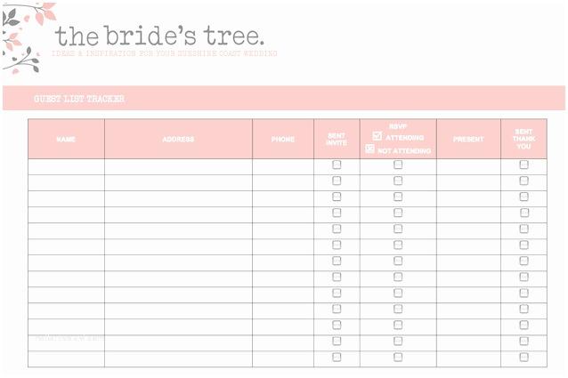 Wedding Invitation Checklist 5 Free Wedding Invitation List Templates Excel Pdf formats
