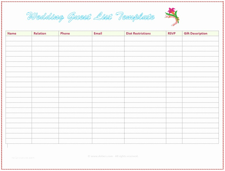 free wedding guest list templates