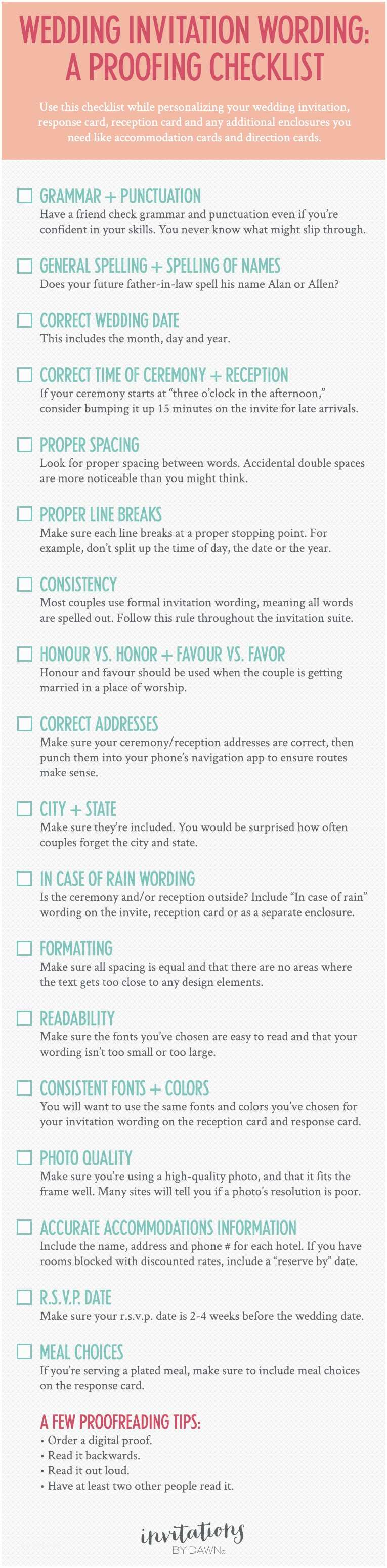 Wedding Invitation Checklist A Proofing Checklist for Wedding Invitations