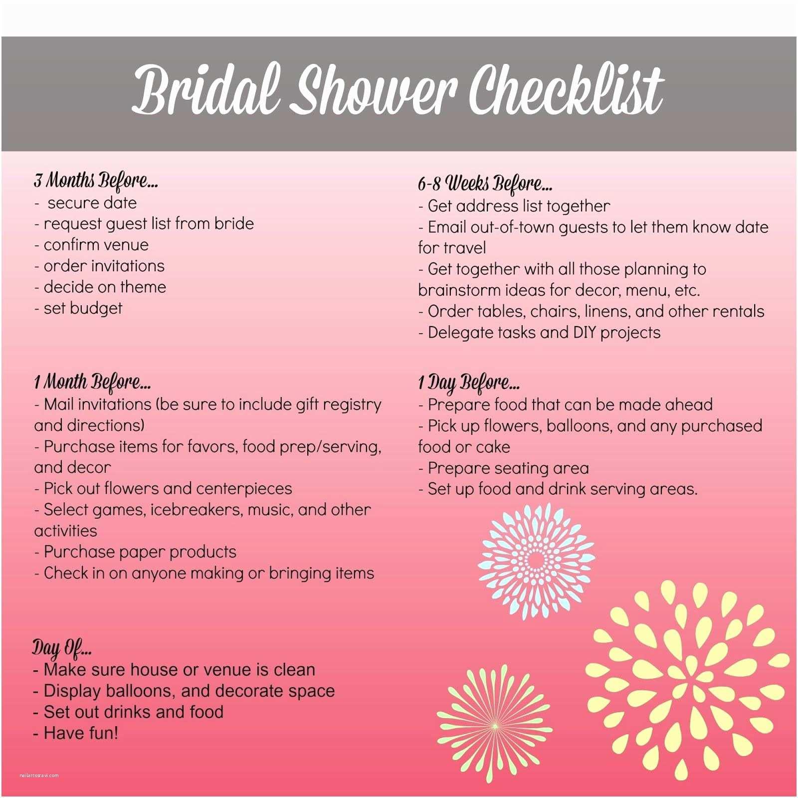 Wedding Invitation Checklist Bridal Shower Planning Checklist