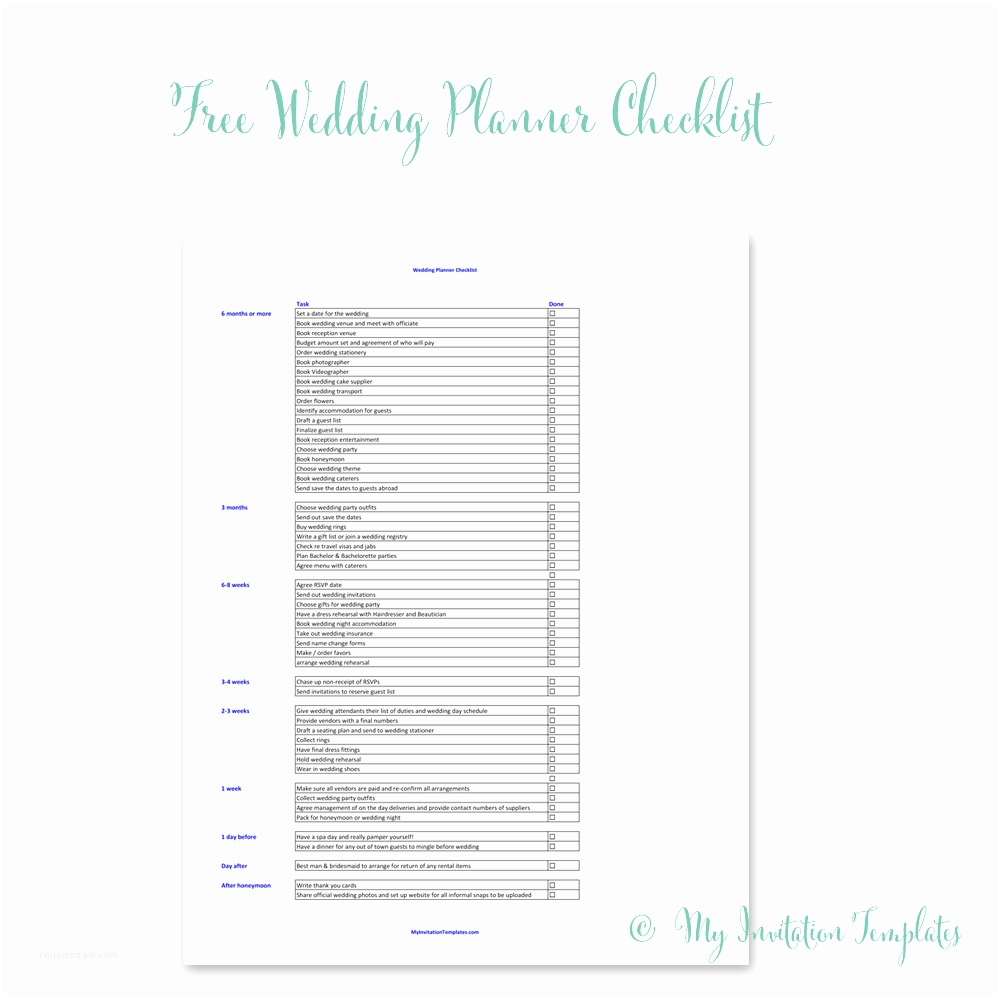 Wedding Invitation Checklist Free Wedding Planner Checklist Printable My Invitation