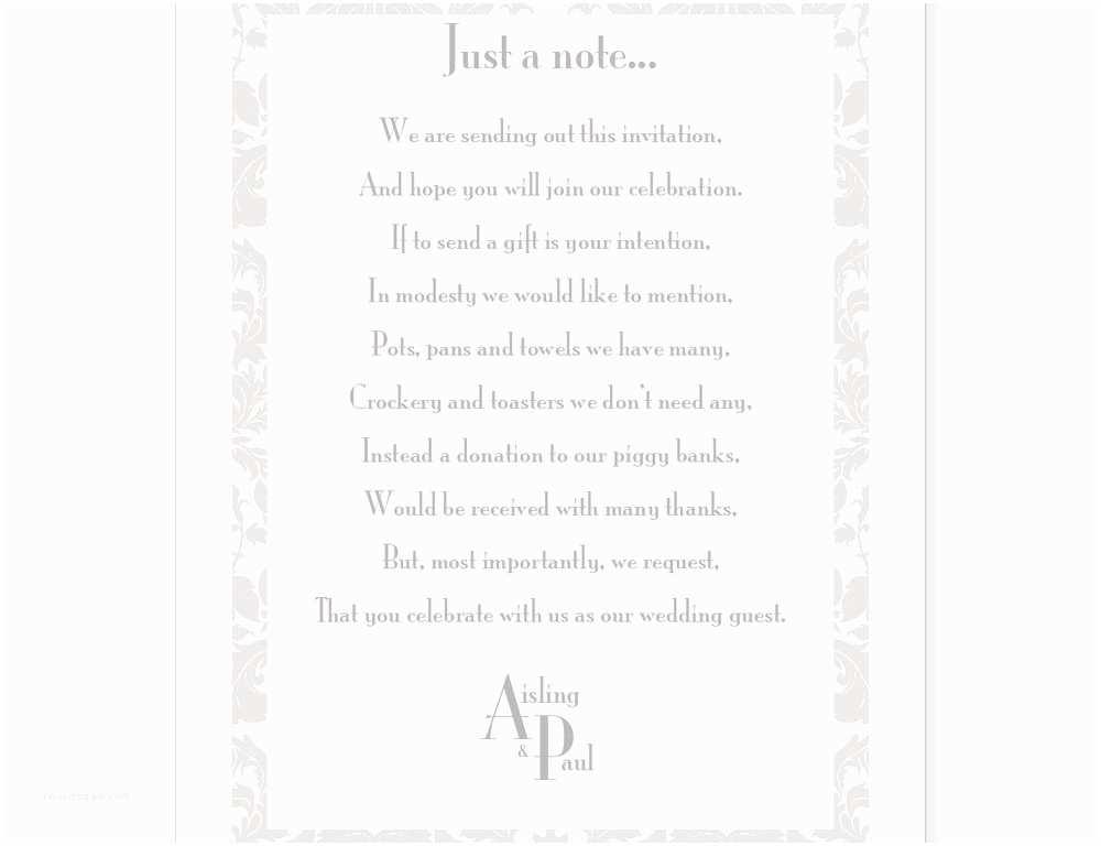 Wedding Invitation Checklist Gift List Wording Wedding Invitations Cobypic