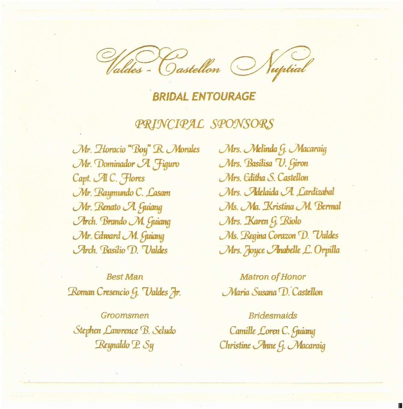 Wedding Invitation Checklist Wedding Entourage List Invitation Sample