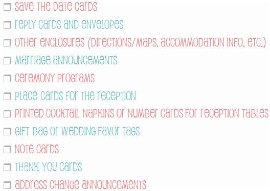 Wedding Invitation Checklist Wedding Stationery Checklist