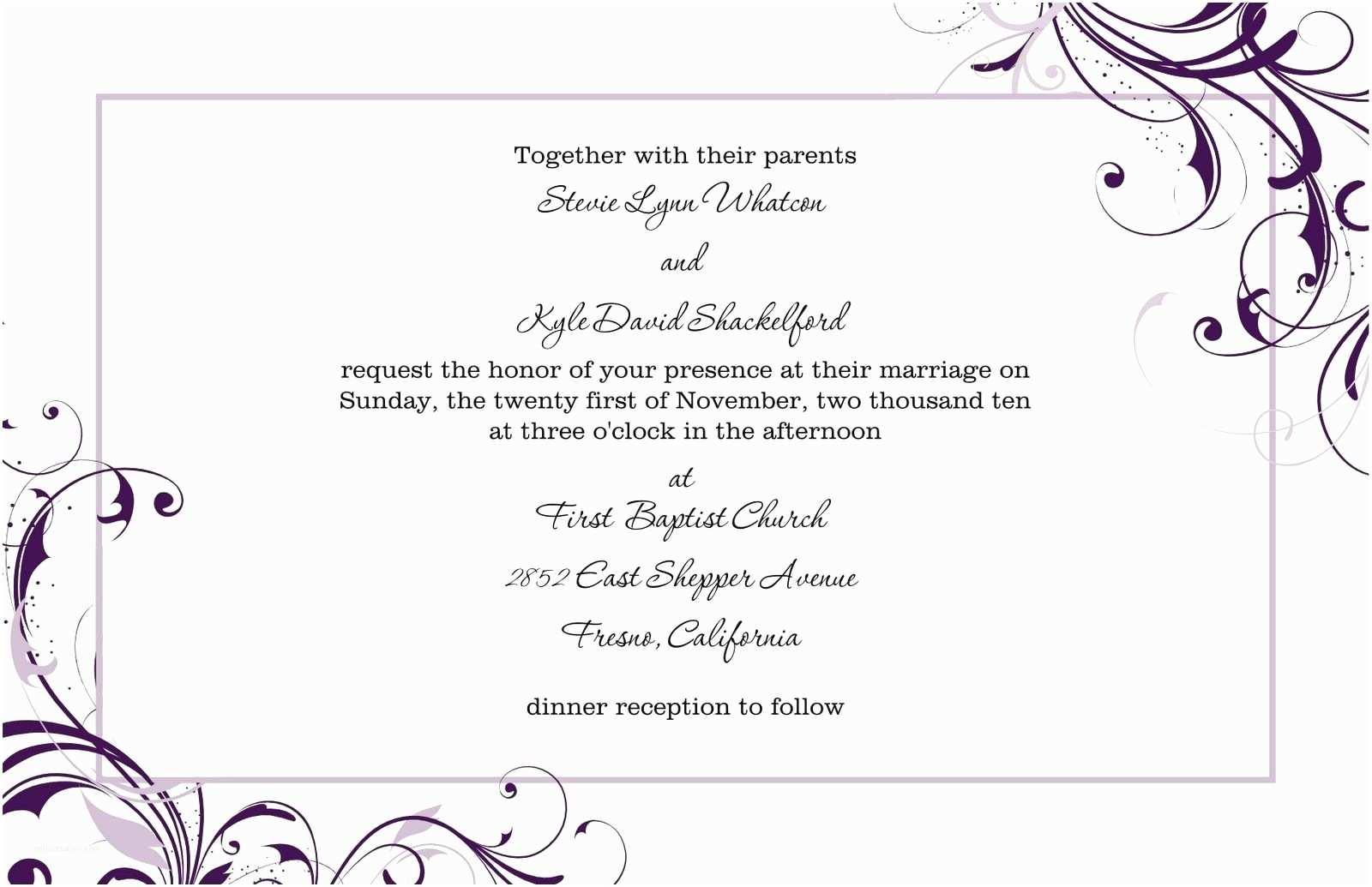 Wedding Invitation Content Free Wedding Invitation Templates For