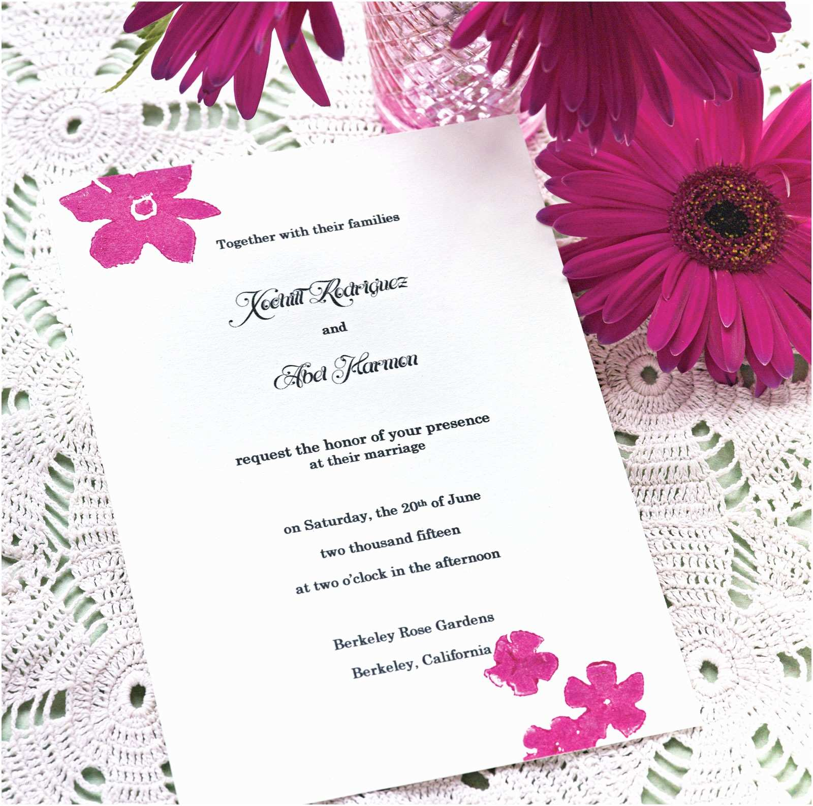 Wedding Invitation Content Simple Wedding Invitation Card Design