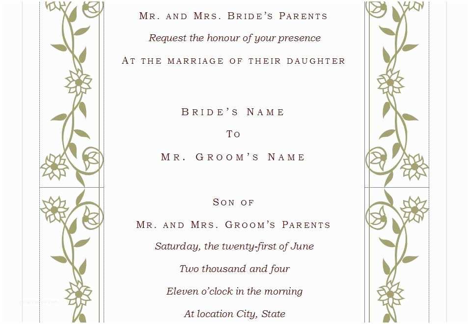 Wedding Invitation Content Wedding Invitation Template