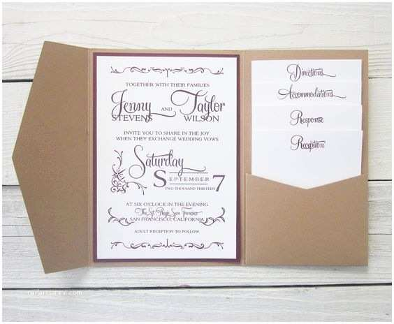 Wedding Invitation Cost Estimate Rustic Kraft Wedding Invitation Pocket Country Twine