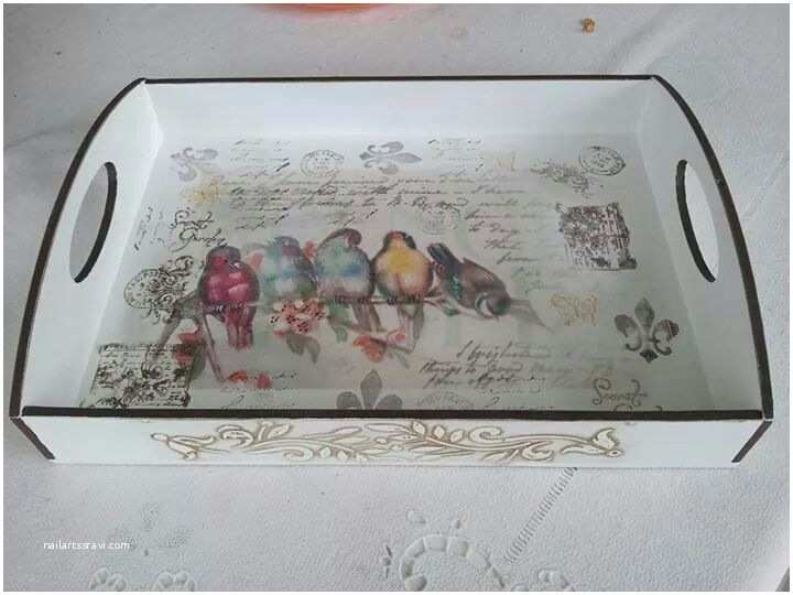 Wedding Invitation Decoupage Tray Decoupaged Wooden Tray Creator Unknown