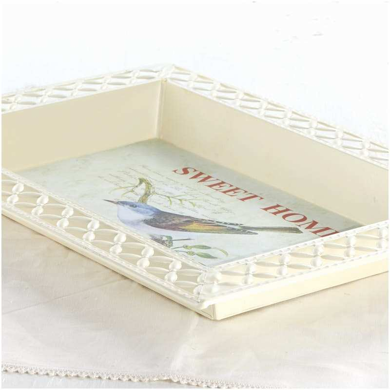 Wedding Invitation Decoupage Tray Vintage Inspired Bluebird French Decoupage Tray Candles