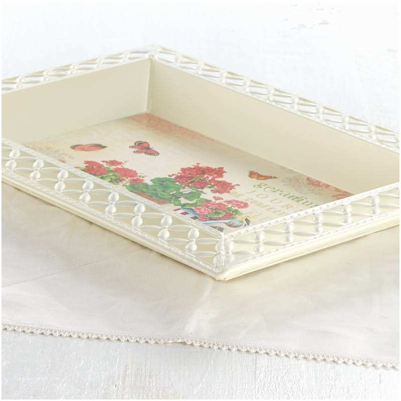 Wedding Invitation Decoupage Tray Vintage Inspired Geranium French Decoupage Tray Candles
