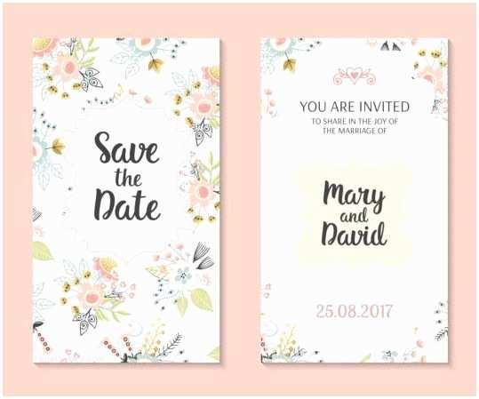 Wedding Invitation Design Templates Free Download Wedding Invitation Card Template with Floral Vectors 01