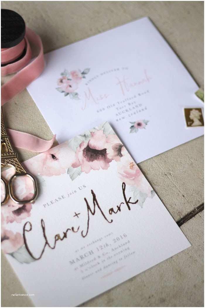 Wedding Invitation Designs Wedding Stationery Pink Floral & Gold