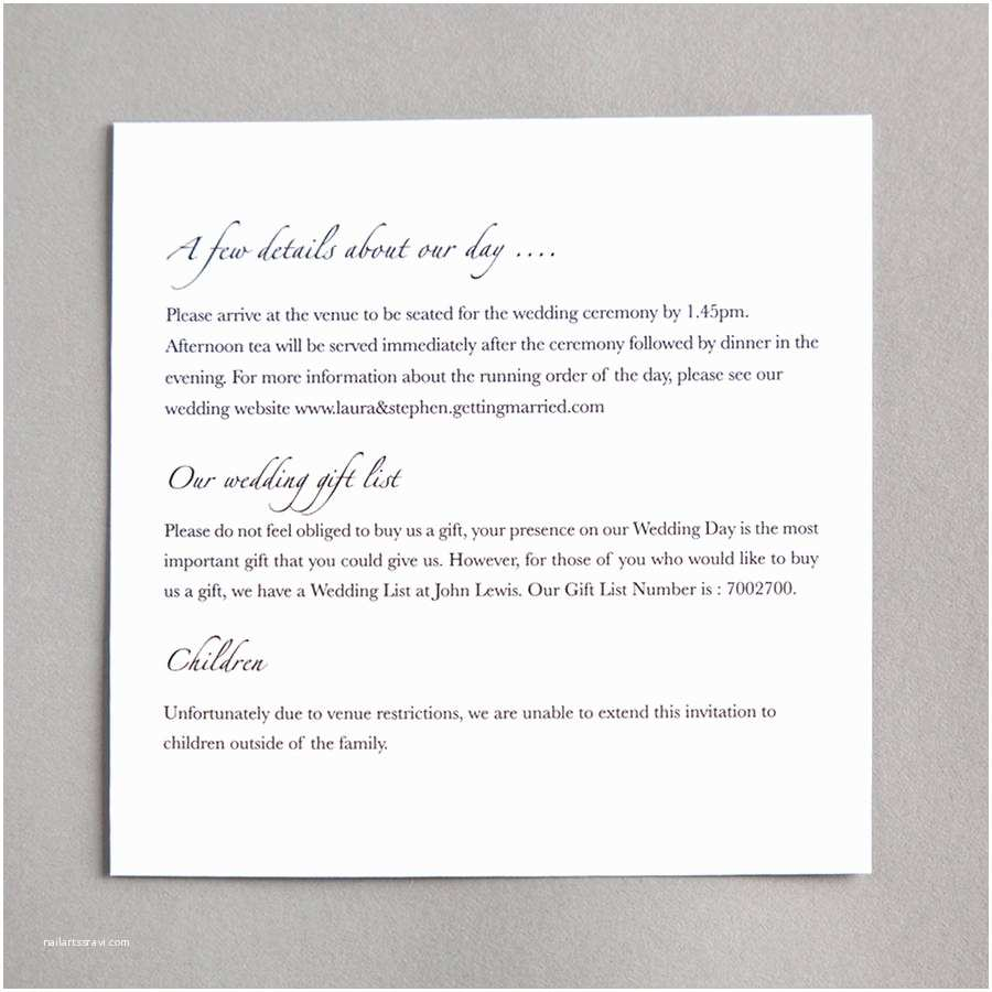Wedding Invitation Details Card Classic Wedding Invitation by Twenty Seven
