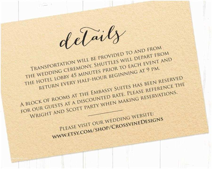Wedding Invitation Details Card Details Card Insert Wedding Information Card Template